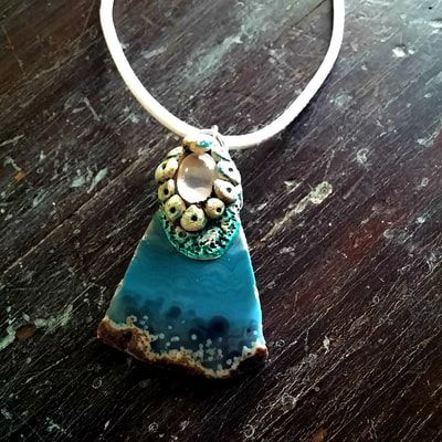 Saltwater Adornment - blue agate slice, moonstone & clay pendant