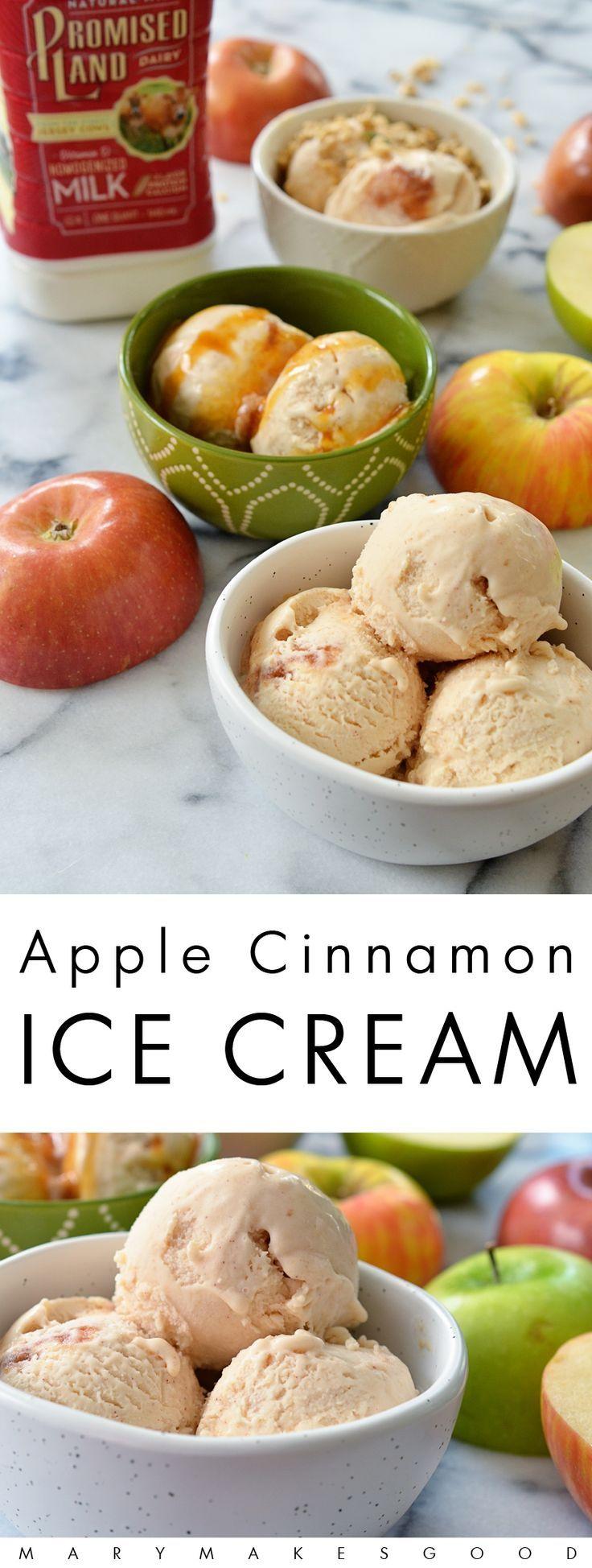 Apple Cinnamon Ice Cream Recipe   #sponsored by Promised Land Dairy #farfromordinarymilk