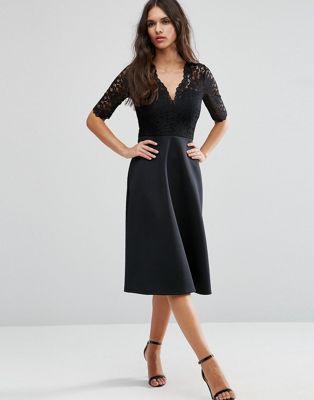 ASOS Midi Skater Dress with Scuba Skirt and Lace Top
