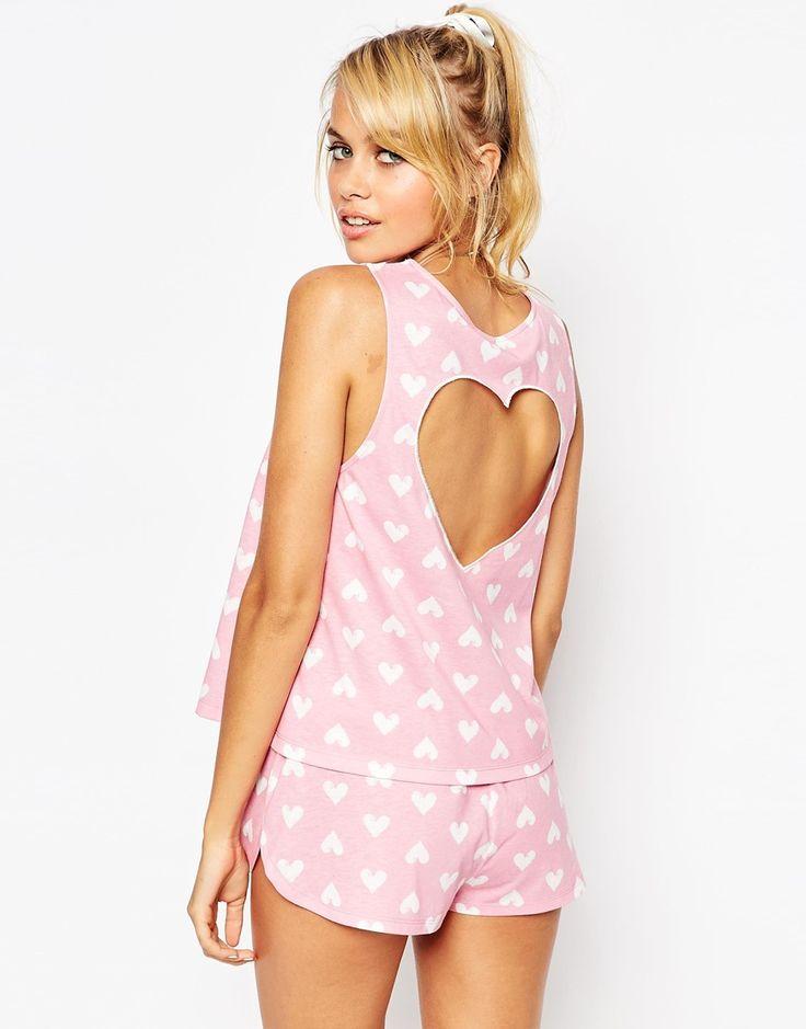 Image 2 ofASOS Princess Heart Cutout Vest & Short Pyjama Set