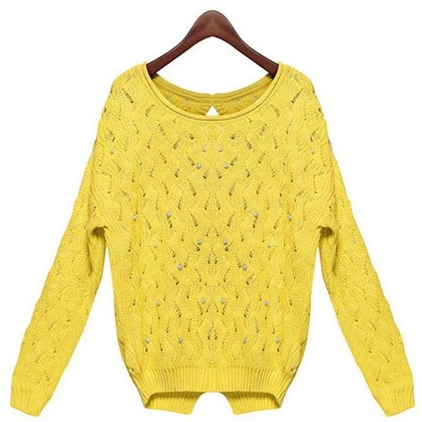 Chic Round Neck Beaded Hollow Long Sleeve Sweater For Women (€19) ❤ liked on Polyvore featuring tops, beaded top, round neck top, yellow top, yellow long sleeve top and long sleeve tops