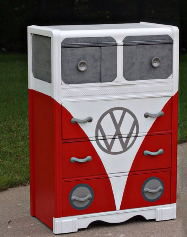 Paint a old dresser into a vw bus! Loving this!