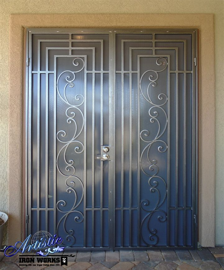 17 best images about wrought iron security doors on for Double door screen door