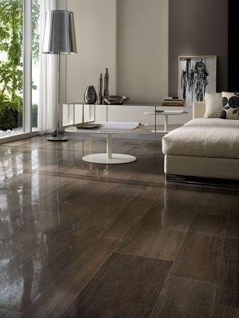 Wood Look Porcelain Tile Floor: Semi polished wood look porcelain tile.  Horizon Italian Tile