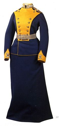 "Pre-revolutionary Russian female military uniform worn by the Russian nobility during official events http://noblerussia.files.wordpress.com/2010/07/d0bcd183d0bdd0b4d0b8d180-21.jpg  --""Before the gates [of Glinda's castle] were three young girls, dressed in handsome red uniforms trimmed with gold braid."""