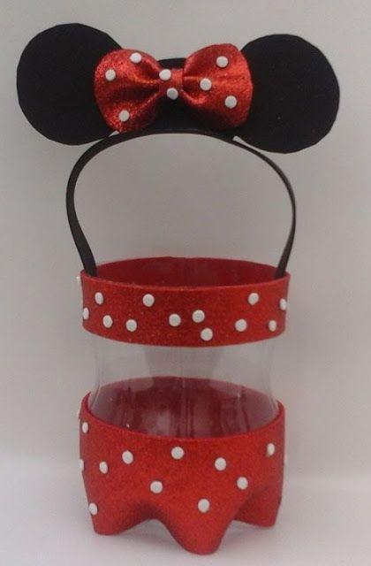 más y más manualidades: Recicla botellas y haz dulceros de minnie o mickey mouse