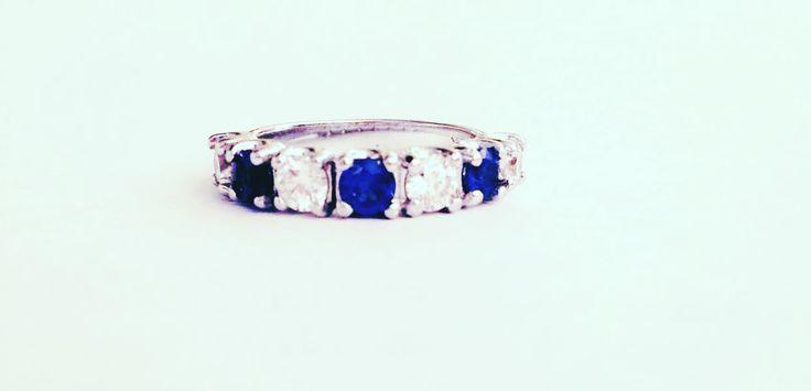 Unique Blue Sapphire and Diamond Anniversary Ring