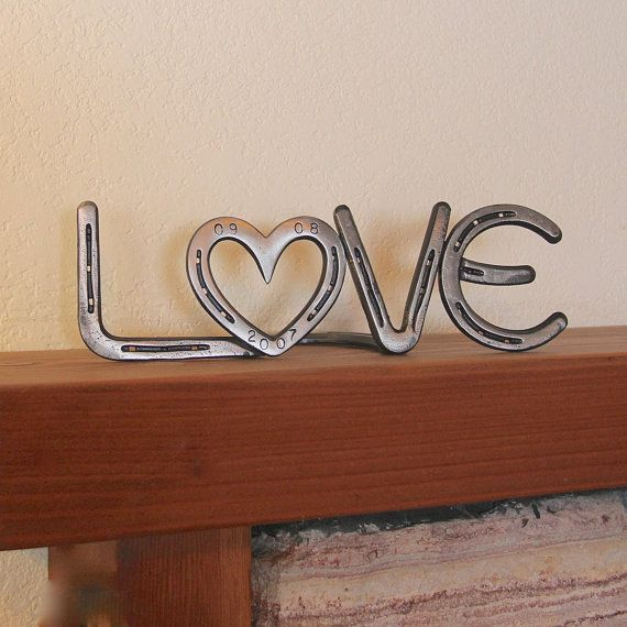 LOVE Sign, country western decor from horseshoes, wedding or anniversary gift, Made to ORDER via Etsy
