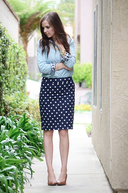 19 best Styling: Navy white polka dot pencil skirt images on Pinterest