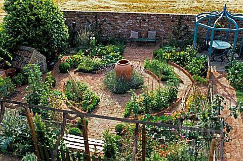 stone walled veggie garden potager vegetable garden. Black Bedroom Furniture Sets. Home Design Ideas