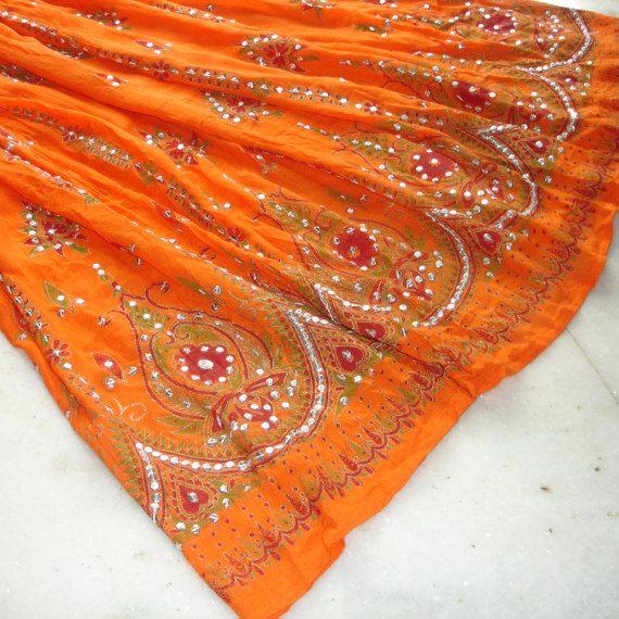 Orange Maxi Skirt Long Bollywood Gypsy Skirt Indian by DelhiDaze