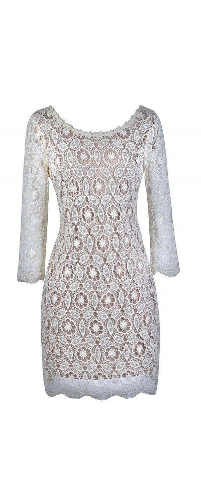 Lily Boutique Crochet My Way Lace Sheath Dress in Ivory/Beige, $45 Beige Lace Sheath Dress, Rehearsal Dinner Dress, Bridal Shower Dress www.lilyboutique.com