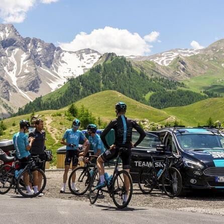 Team Sky was out doing a little Recon for stage 18 of the Tour de France which finishes on the summit of the Col d'Izoard.   Photo Credit: @vars_fob