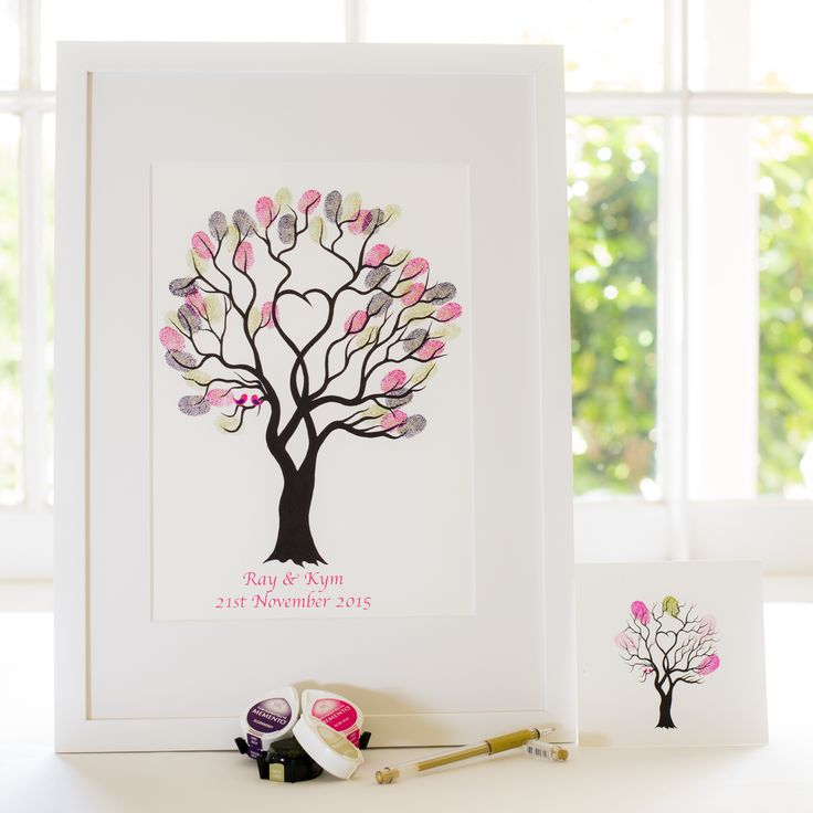 Unity Tree - Pink birds guest book for Wedding, funeral or other celebration. Illustrated by Ray Carter - The Fingerprint Tree® Made-to-order, ships worldwide. The Fingerprint Tree®, bespoke gifts you'll treasure!