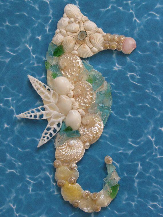 Seahorse Wall Decor Seahorse Shell Art Beach Decor