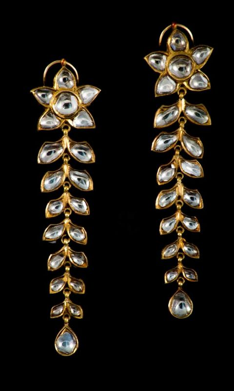 Pair of Indian Earrings  Set with rose cut diamonds mounted on 18K gold. Enamel back.