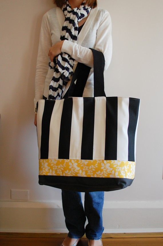Extra Large Beach Bag In Black And White Stripes With A Pinch Of Yellow Fl 2018 Fun To Have Pinterest Bags
