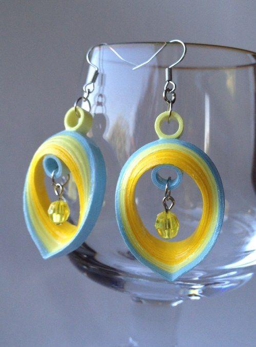 Žluto-modré náušnice - autorské