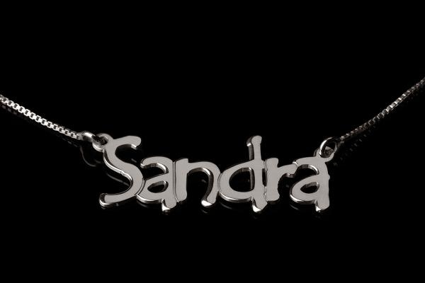 14k white gold tree style name necklace - oNecklace.com - $149.95