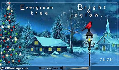 Screenshot of a Christmas ecard of a snowy home and Christmas tree