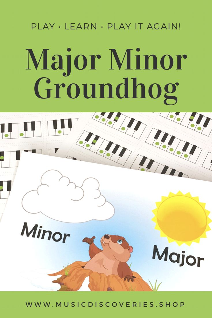 Identify major and minor pentascales for the groundhog! Cute printable from Music Discoveries! #pianoteaching