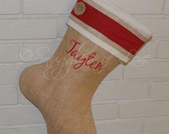 Personalized Burlap Christmas Stocking Shabby by SnugglesofLove