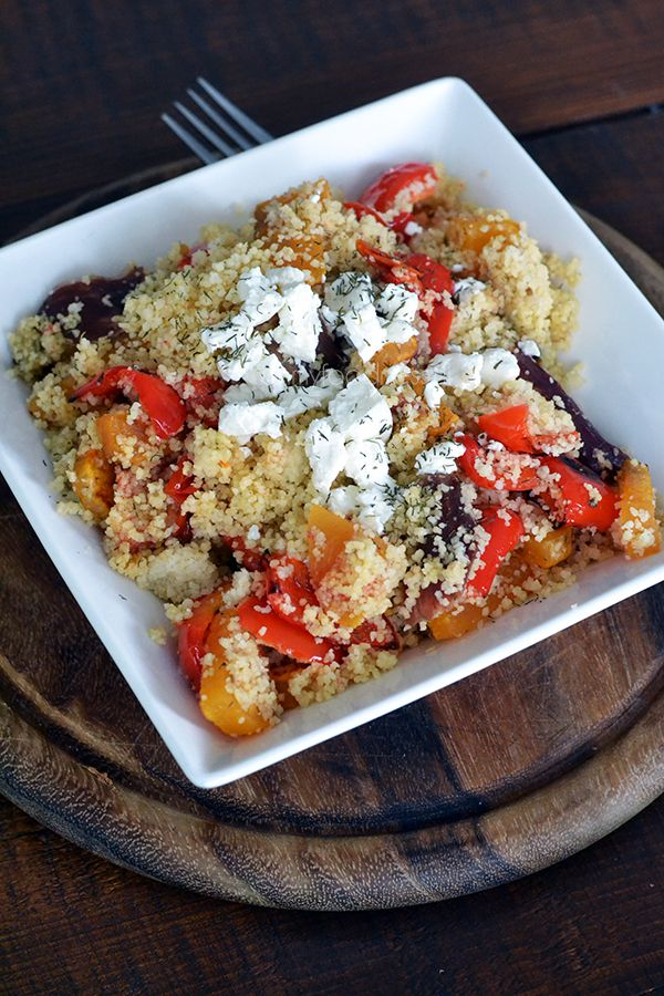Fast, healthy, delicious and perfect for lunch: Couscous salad with grilled veggies and fresh goat cheese.