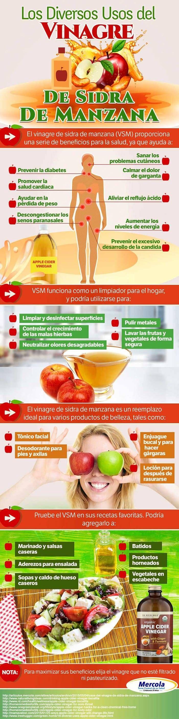 Beneficios, usos y propiedades del vinagre de sidra de manzana. #vinagredemanzana #infografia #remediosnaturales