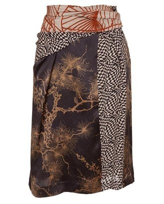 ShopStyle: DRIES VAN NOTEN 'Spidel' contrasting silk skirt
