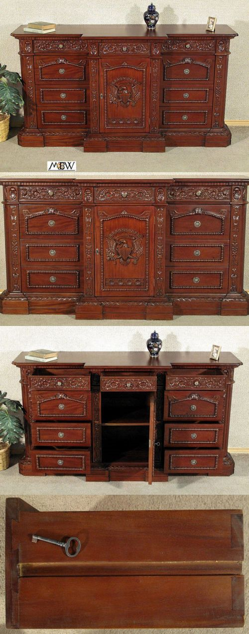 Sideboards and Buffets 183322: Solid Mahogany Carved Presidential Resolute Credenza Desk (So) -> BUY IT NOW ONLY: $2100 on eBay!