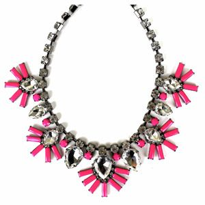 bought this the other day at walmart.  only $10 and really cute!  Hematite Pink Statement Necklace, 18""