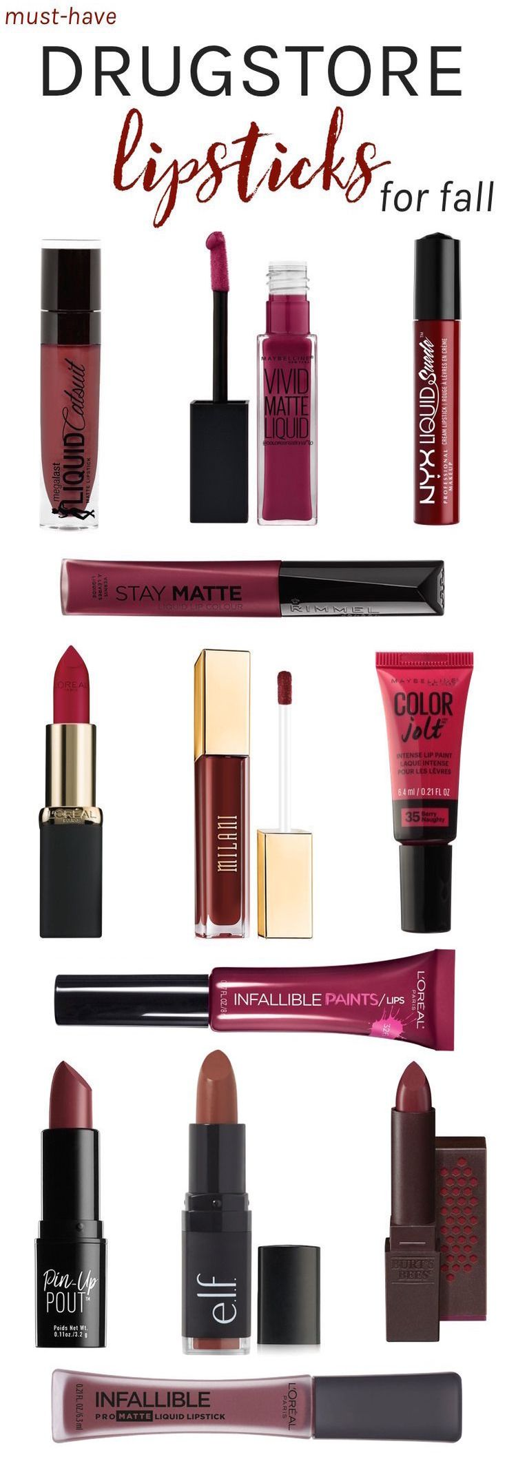 Fall calls for a switch to moody, darker colors, and what better way to create bold looks than with perfectly painted lips! Here are the must-have drugstore lipsticks you'll want to stock up on for autumn and winter!