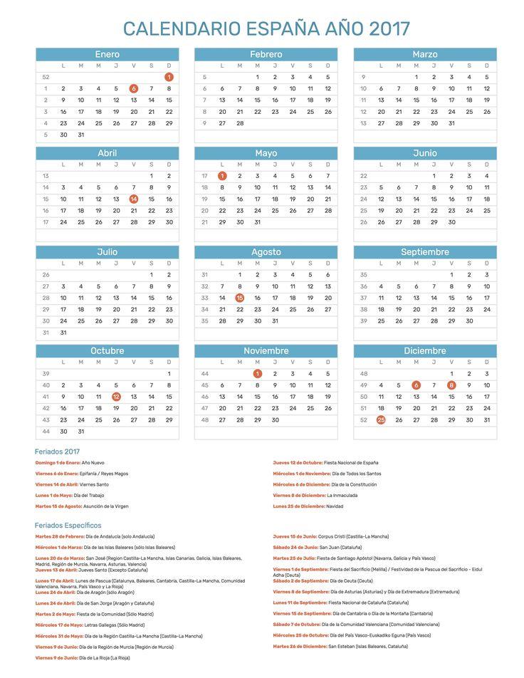 Calendario de España con feriados nacionales año 2017. Incluye versión para imprimir en formato JPG y PDF totalmente gratis.