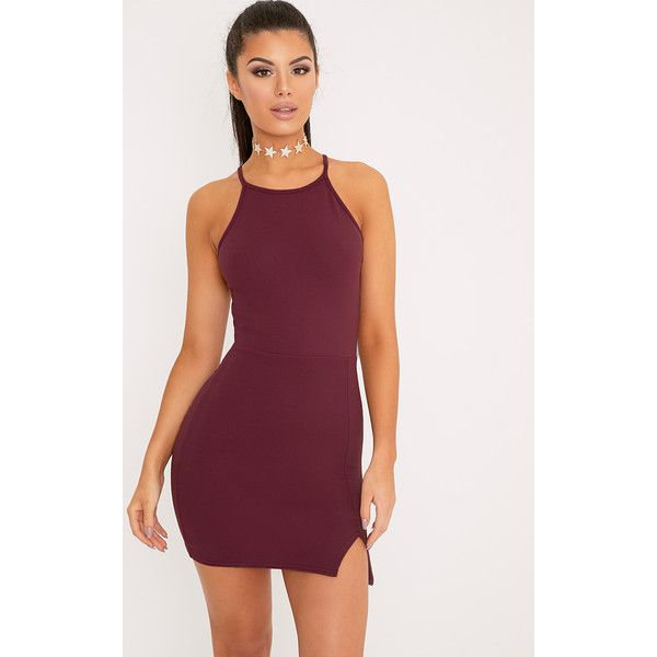 Aniqah Aubergine High Neck Split Detail Bodycon Dress (£12) ❤ liked on Polyvore featuring dresses, purple, going out dresses, holiday party dresses, purple dress, purple bodycon dress and body con dresses