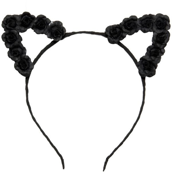 black flower cat ear head band ❤ liked on Polyvore featuring accessories, hair accessories, headbands, hair, jewelry, hats, black flower hair accessories, flower crown, hair bands accessories and cat ears headband