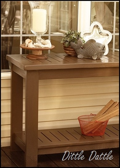 buffet table for patio with deck stain-this would be FABULOUS up against the house!