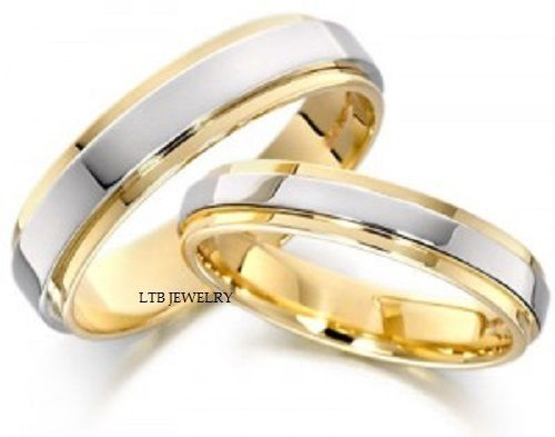 14K TWO TONE GOLD MATCHING HIS & HERS WEDDING BANDS  RING MENS WOMENS SET