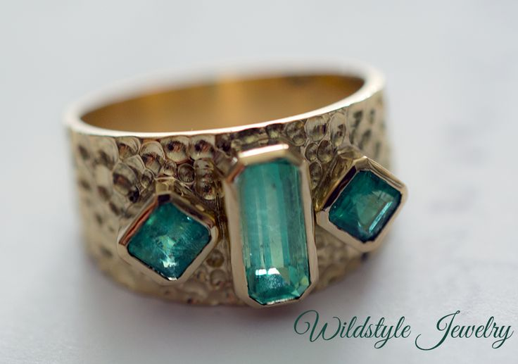 """Emerald """"warrior ring"""" by Wildstyle Jewelry. 18k"""