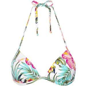 John Lewis Hawaii Floral Triangle Bikini Top, White / Multi