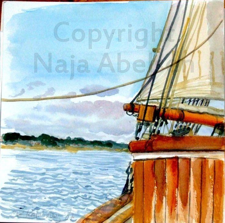 A little live watercolour study aboard the danish schooner Fylla. 20 x 20 cm. 2014. By Naja Abelsen