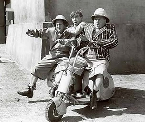 3 Stooges On A Motorcycle This Makes My Day All Day