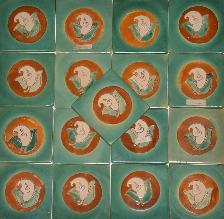 "A Fine Collection of San Jose Potteries Tiles for your mission, arts and crafts style home.  These would be perfect accent tiles for a fireplace surround, kitchen back splash, or set on a table top.  Pattern: ""Calla Lily"" - Produced in the 1940's while under the ownership of Michaelian and Kohlberg.  About San Jose Potteries (1930's-1940's) - Reference Book: ""Colors on Clay"" by Susan Toomey Frost. Reference Book: The Encyclopedia of American Art Tiles by Norman Karlson.  San Jose Pottery was…"
