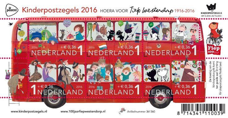 De fantastische kinderpostzegels van 2016, met tekeningen van Fiep Westendorp. Thema: kansen voor kwetsbare kinderen. Ontwerp: Fiep Amsterdam. Ook te bestellen via http://www.kinderpostzegels.nl/bestellen