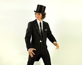 Love a top hat and tails!  mens vintage tuxedo jacket tailcoat Christian Dior vampire wedding peak lapel black tie slim 40R 42R