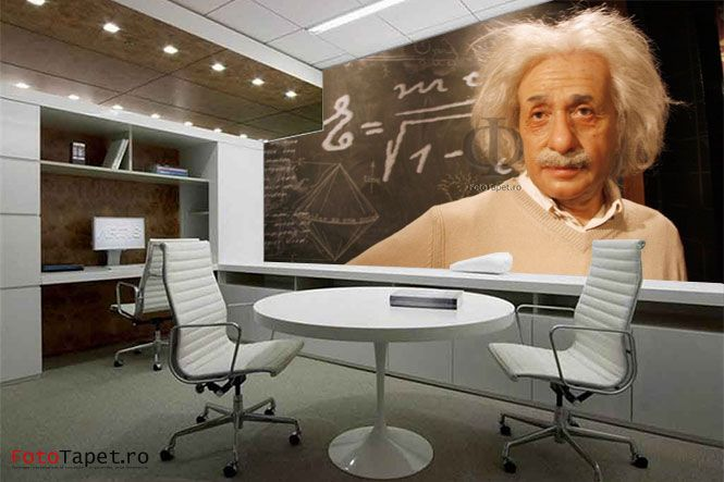 Your new office colleague - Albert Einstein  Wall, floor, ceiling- anything can be personalized with a special, latex alike, material that can help you personalize your home and make it memorable! Contact us: www.fototapet.ro