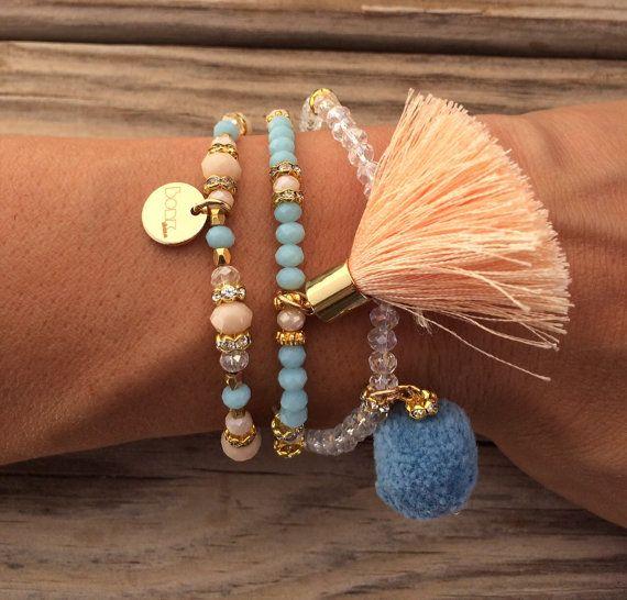 OOAK SET: 3 beaded bracelet in pastel colors with by BonkIbiza