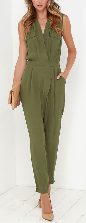 Olive jumpsuit. women fashion outfit clothing style apparel @roressclothes closet ideas