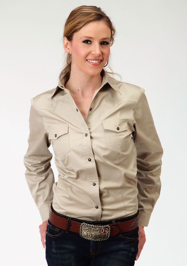 For authentic, classic, western apparel at an affordable price, Roper is the brand to trust. This item features ladies long sleeve poplin shirt, two flap snap p