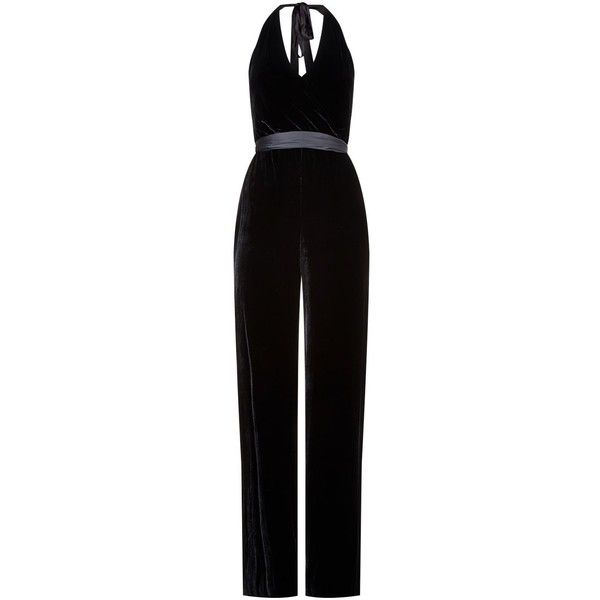 Alice + Olivia Cyprus Velvet Jumpsuit ($625) ❤ liked on Polyvore featuring jumpsuits, halter tops, velvet halter top, deep v neck jumpsuit, halter jumpsuit and special occasion jumpsuits