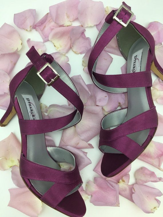 Purple Strappy Wedding Shoes Bridesmaids Shoes by MissLyssShoes